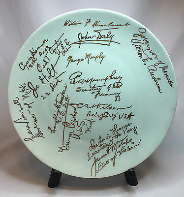 Rare Eisenhower Era Plate Signatures of Republican Governors Senators Cabinet