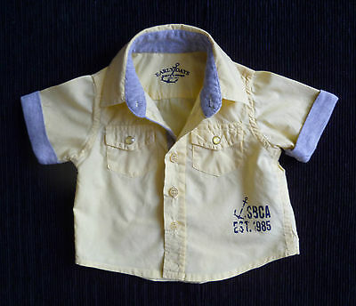 Baby clothes BOY 0-3mcute yellow/grey short sleeve cotton shirt collar SEE SHOP!