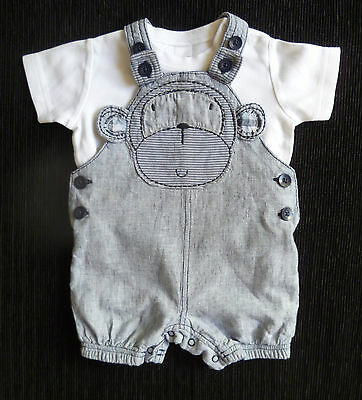 Baby clothes BOY 3-6m NEXToutfit navy blue/white thin stripe short dungarees/top