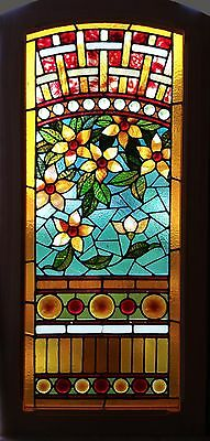 A Floral Stained and Jeweled Antique American Window