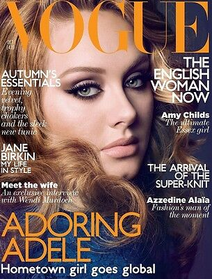 VOGUE October 2011 UK,ADELE,Jane Birkin,Wendi Murdoch,Azzedine Alaia,Lara Stone