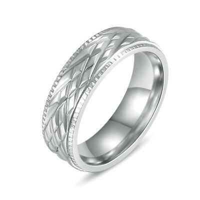 316L Stainless Steel Silver Women Engagement Wedding Band Fashion Ring Size 7-10