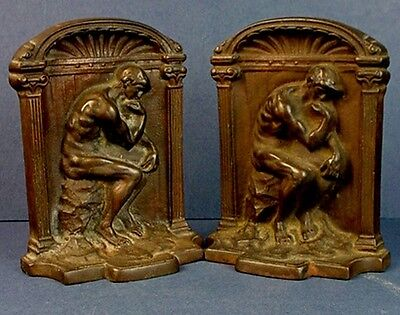 """Pair Vintage Copper-Plated Cast Iron After Rodin'S """"The Thinker"""" Bookends"""