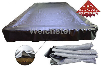 Quality Heavy Duty Vinyl Black & Brown Snooker Pool Table Cover 7ft 8ft 9ft 12ft