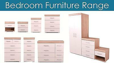 Bedroom Furniture Wardrobe Chest of Drawers Bedside White & Oak