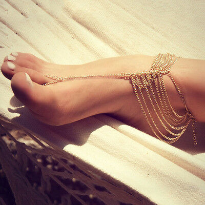 Barefoot Sandals Foot Jewelry Beach Wedding Dancing Tassel Ankle Chain Bracelet
