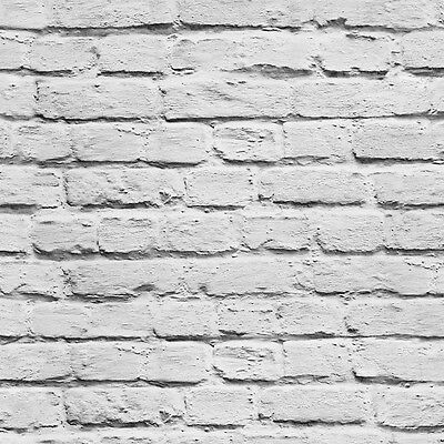White Brick Wallpaper With Grey Tones Painted Effect Rustic