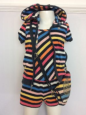 JUICY COUTURE 3 Piece Outfit Jumpsuit Bag, Hoodie Age 6 Years Stripe Terry Towel