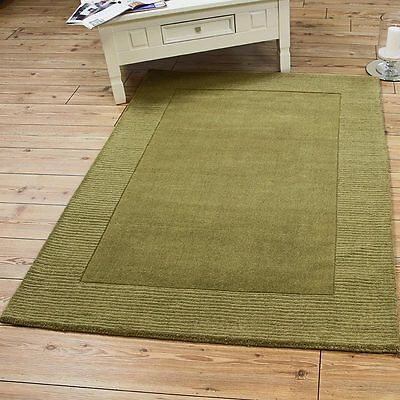 Green Rug Wool Plain Modern Large small B NEW Border soft Thick