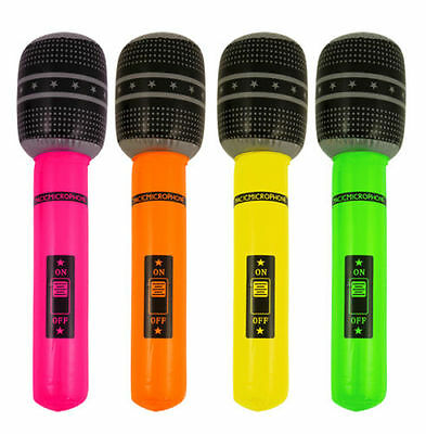 4 x Inflatable Microphone Neon Colour Blow Up Toy Kids Party Bag Filler Singing