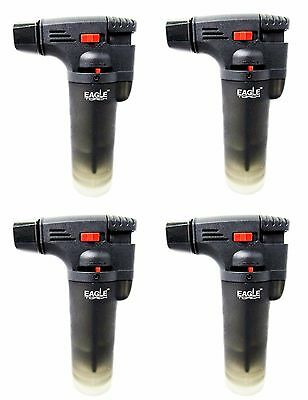 4 PACK Eagle Jet Torch Gun Lighter Adjustable Butane Flame Windproof All BLACK