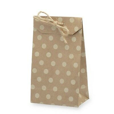 Small Gift Bags - Set of 10 Kraft Card - Party Wedding Favour - Polka Dot Bag