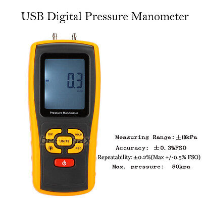 Handheld Pressure Manometer 11 Unit Digital Air Pressure Meter Tester GM510 Tool