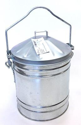 Galvanised Recycling Tidy Waste ash carrier Ashbin Bucket c/w Captive Lid