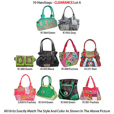 Wholesale Lot - 10 Women's Multi-Color Totes Bags Satchels Handbags