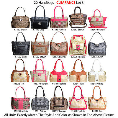 Wholesale Lot - 20 Premium Women's Handbags - New Designer Totes Satchels Purses