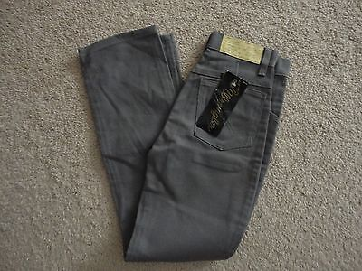 80s Vintage WRANGLER RELEASE NOS Gray JEANS NWT Boys 14 SLIM STRAIGHT LEG FLAWED
