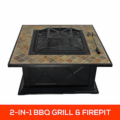36 Inch Slate Top 2in1 Firepit BBQ Grill Cook Top Outdoor Garden Heater Fire Pit