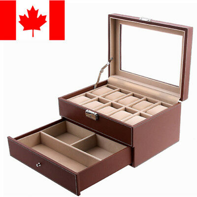 Brown Leather 10 Watch Box Jewelry Display Drawer Glass Top Lockable Watch Case