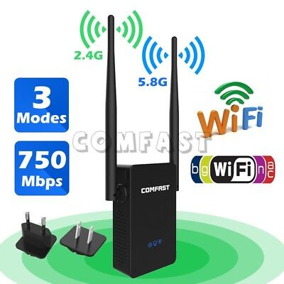 750Mbps Dual Band 2.4G/5G Wireless WiFi Repeater Router AP Range Booster EU Plug