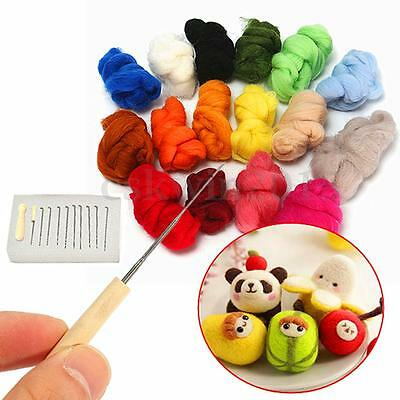 26pcs 180g 16 Colour Wool Felt Needles Tool Kit + Needle Felting Mat Starter DIY