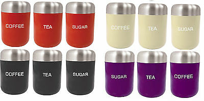 Stainless Steel Tea Coffee Sugar Canister Set of 3 Cream Black or Red Purple