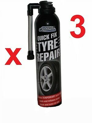 3 X QUICK FIX CAR EMERGENCY FLAT TYRE INFLATE PUNCTURE REPAIR KIT Motorbike Bike