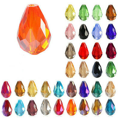 20Pcs Center Drilled Faceted Teardrop Crystal Loose Spacer Glass Beads 8/10mm