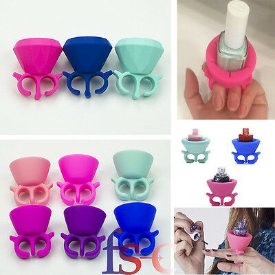 Silicone Colourful Finger Ring Nail Polish Holder Universal Fits Tweexy Style