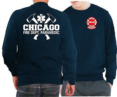 Sweatshirt navy, Chicago Fire Dept. mit Äxten, Paramedic