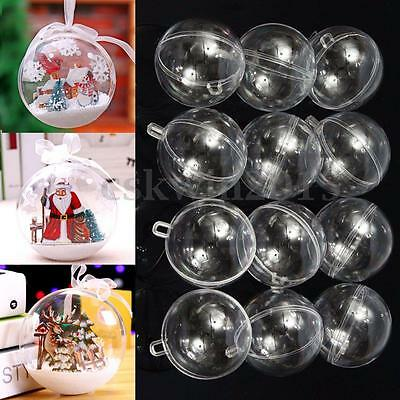 12Pcs 60mm Ball Christmas Baubles Clear Fillable Xmas Tree Decoration Ornaments
