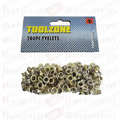 200 Brass Eyelets 4mm Inside & 8mm Outside - Hole Makers/Leather Craft NEW