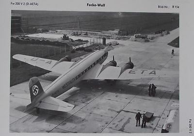 1974 Focke Wulf Fw 200 Condor Lufthansa Airliner Aircraft Photographic Plate