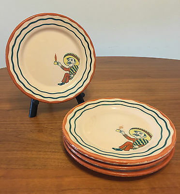 "Mexican Man Wallace China Desert Ware Eaton's Rancho 7"" Plate Set of 4"
