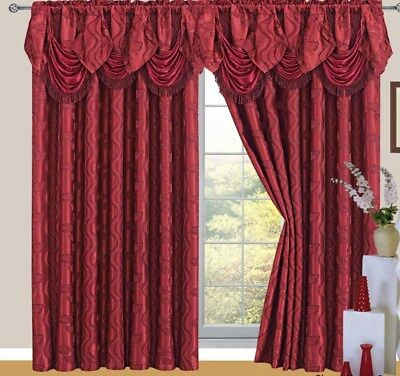 Raven Jacquard Rod Pocket Panel with Valance and Backing, Burgundy, 55x84