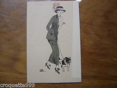 cpa Postcard Carte Postale MODE fashion chien Bouledogue LEONNEC