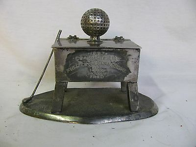 Antique Golf Lidded Box Trophy 1927