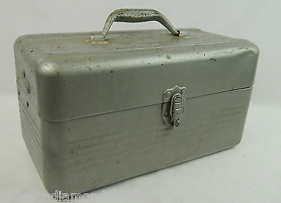 "Vintage Heavy Steel 2 Tier Tool / Tackle Box Pianted Silver 14"" x 7"""