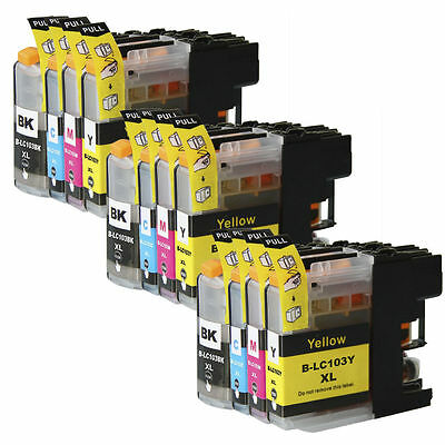12 Non-Oem Ink Cartridge Brother Lc101 Lc-103 Xl Mfc-J475Dw Mfc-J650Dw Mfc-J6520