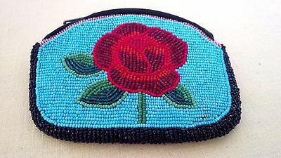 Vintage Great Lakes Chippewa Beaded Blue Glass Beads Floral Zipper Coin Purse