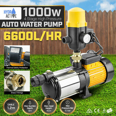 Multi Stage High Pressure Auto Water Pump Garden House Pool Rain Tank Irrigation