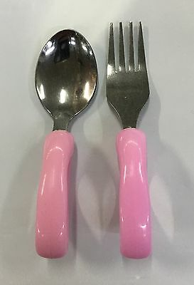 Kids Children's Mini 11cm Cutlery Fork & Spoon With Hollow Handle For Easy Grip