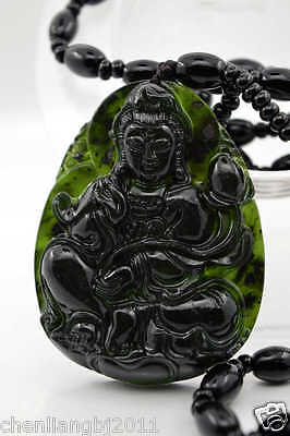 Hand-carved Natural Dark green  Chinese Jade Pendant -Free Necklace guanyin观音