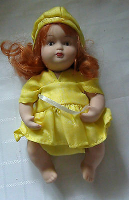 Miniature Porcelain Doll - Baby In Yellow Dress With Matching Hat- New