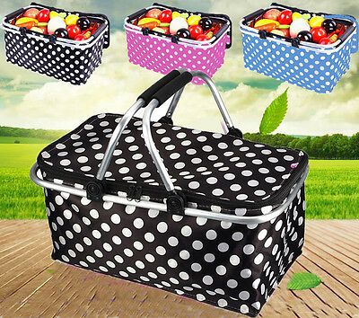 Outdoor Insulated Folding Picnic Basket Fruit Portable Storage Basket Handles