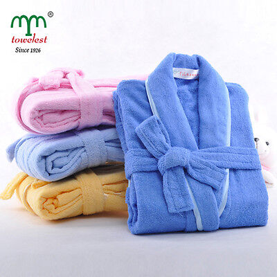 MMY 100% Cotton Children Bathrobe Solid Kid Bath Robes Quick Drying Robe Comfort