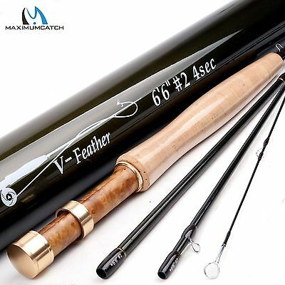 Medium-Fast Fly Fishing Rod 4Pieces 6.5FT 2WT Fly Rod (IM10) & Carbon Rod Tube