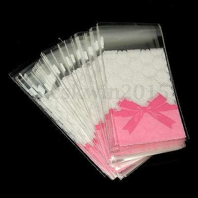 100Pcs Clear Flower Lace Bow Self Adhesive Bag Cellophane for Party Sweet Candy