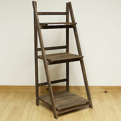 3 Tier Brown Ladder Shelf Display Unit Free Standing/folding Book Stand/shelves