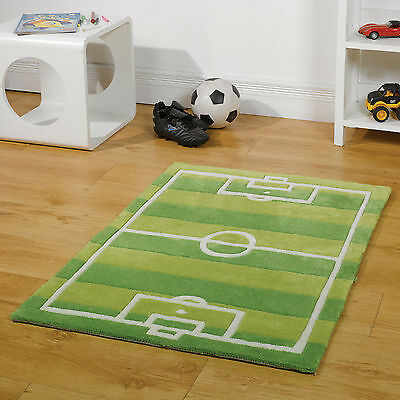 Children' S Bedroom Kiddy Play Football Pitch Medium Modern  Soft Rugs